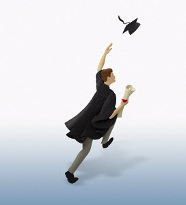 Graduate running throwing mortar board in air