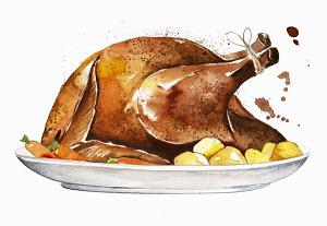 Roast chicken on serving plate