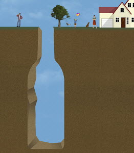 Alcoholic father separated from family by wine bottle shaped gap