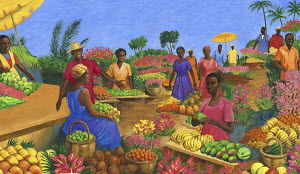 Colourful fruit market in Martinique