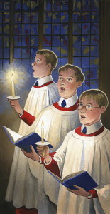 Choirboys singing in King's College Chapel, Cambridge