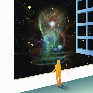 Man looking at glowing keyhole in space