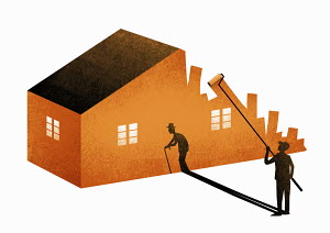 Younger man with elderly shadow painting house