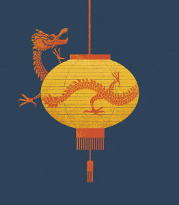 Dragon emerging from Chinese lantern