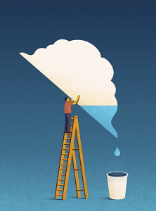 Man tipping water out of cloud