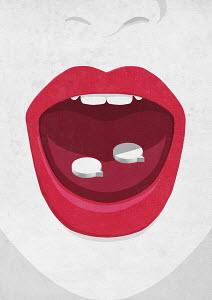 Speech bubble shaped pills on woman's tongue