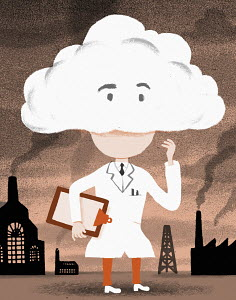 Scientist with head in clouds surrounded by air pollution