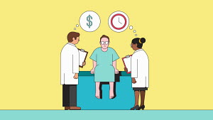 Doctors examining patient while thinking about time and cost