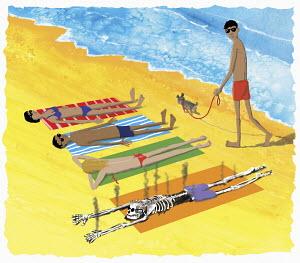 Man burnt to skeleton sunbathing on beach