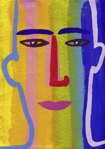 Close up of man's face in rainbow flag colours
