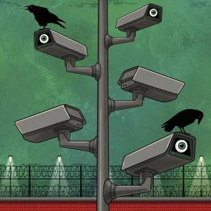 Sinister CCTV surveillance cameras