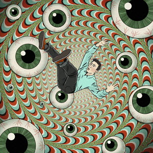 Man falling into vortex of eyeballs
