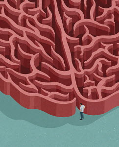 Man at entrance to brain maze