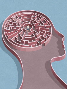 Woman at centre of maze inside of head
