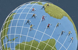 Business people creating global network