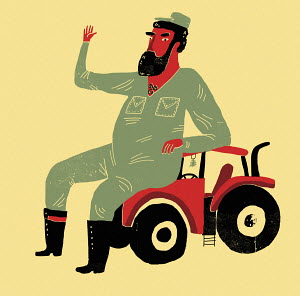 Farmer waving sitting on small tractor