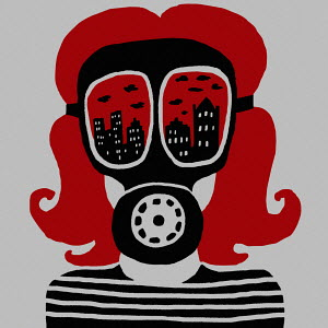 Girl wearing air pollution gas mask