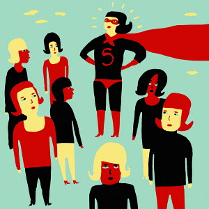 Woman in superhero costume surrounded by less confident women