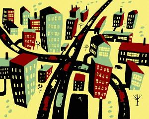 Traffic on roads through town