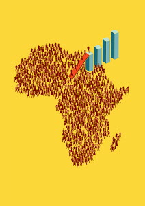 People ascending bar chart from map of Africa