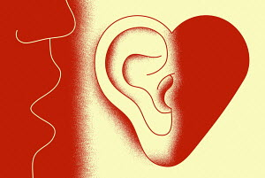 Close up of someone whispering into heart shaped ear