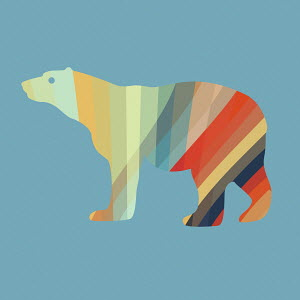 Abstract multi coloured polar bear
