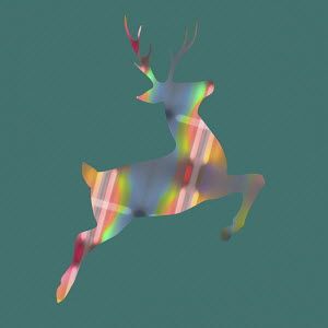 Abstract patterned leaping reindeer
