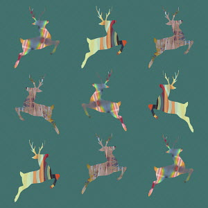 Rows of abstract patterned leaping reindeer