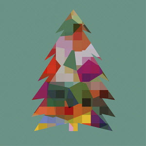 Multi coloured abstract patterned Christmas tree