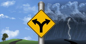 Road sign pointing to opposite weather conditions