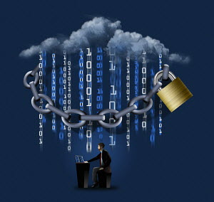 Chain and padlock protecting cloud computing data