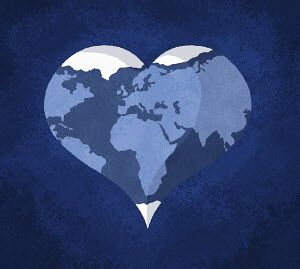 Planet earth in heart shape