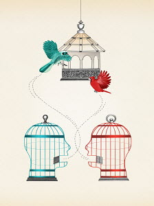 Birds escaping from two talking head shaped birdcages