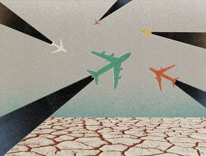 Aeroplanes flying over barren arid earth