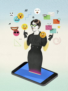 Woman emerging from smart phone surrounded by social media icons