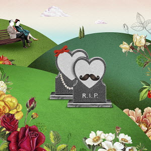 Male and female heart shaped gravestones