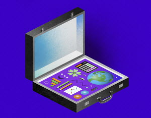 Briefcase containing items for environmental data analysis