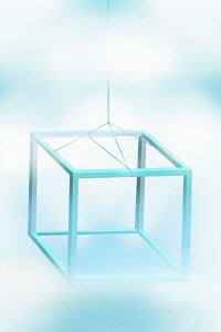 Three dimensional cube frame hanging on string