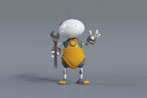 Cute robot holding wrench