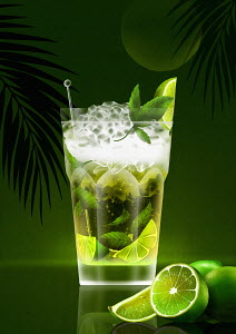 Tropical mojito cocktail