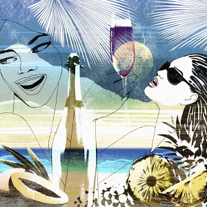 Montage of young women enjoying champagne on tropical holiday