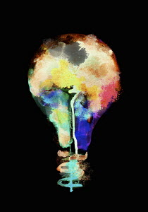 Multi coloured light bulb