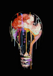 Dripping multi coloured light bulb