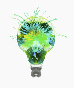 Green sparks inside of light bulb