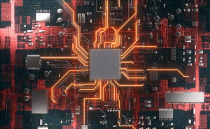 CPU in the centre of glowing high tech computer circuit board