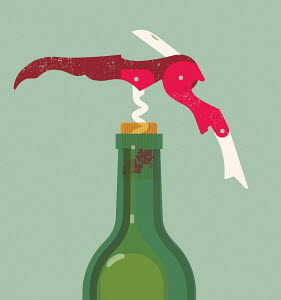 Corkscrew in wine bottle