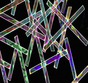 Criss crossing multi coloured strips