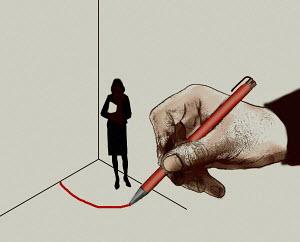 Man drawing red line around businesswoman in corner