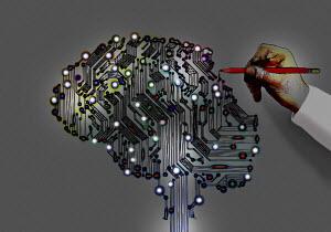 Hand drawing circuit board brain