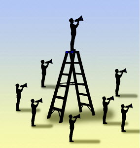 Man on top of ladder standing out from crowd of men shouting through megaphones